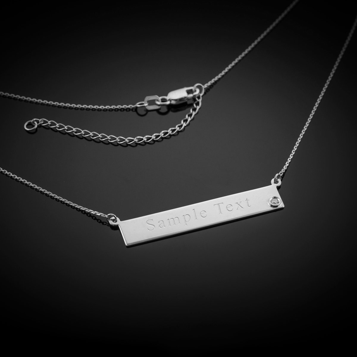 Dainty 925 Sterling Silver CZ Bar Necklace for Women