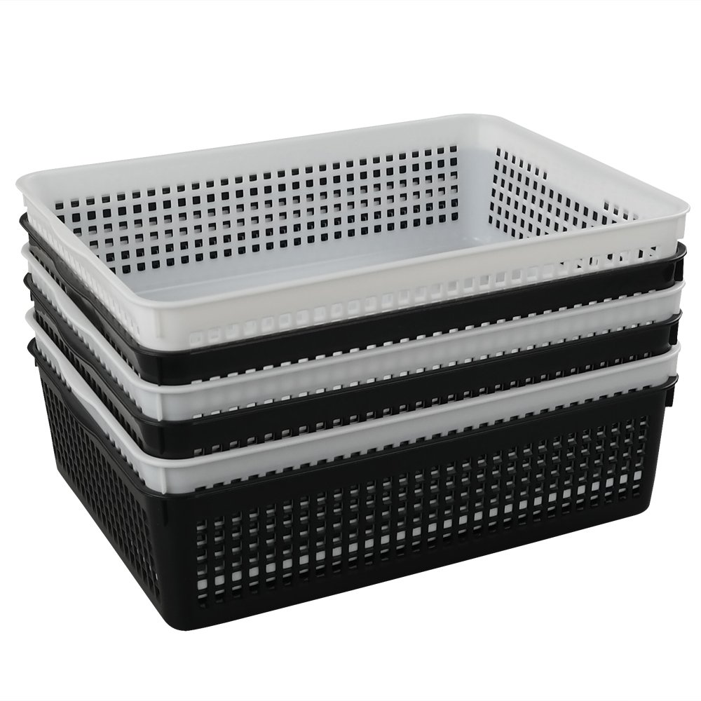 Joycky A4 Storage Baskets, Shallow Plastic Basket, Desktop Basket Set of 6, White/Black Joyckys