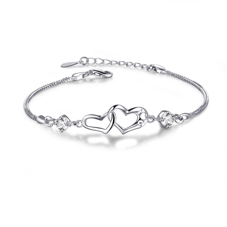 22c636237 Amazon.com: EVERU Heart Love Bracelet for Women, Symbol Never Separated,  925 Sterling Silver Adjustable Charm Forever Bracelet: Jewelry
