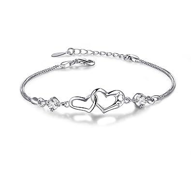 Damen Armband mit Herz,  quot Niemals getrennt quot , aus 925 Sterling  Silber Armbänder 0f7f4edfe4