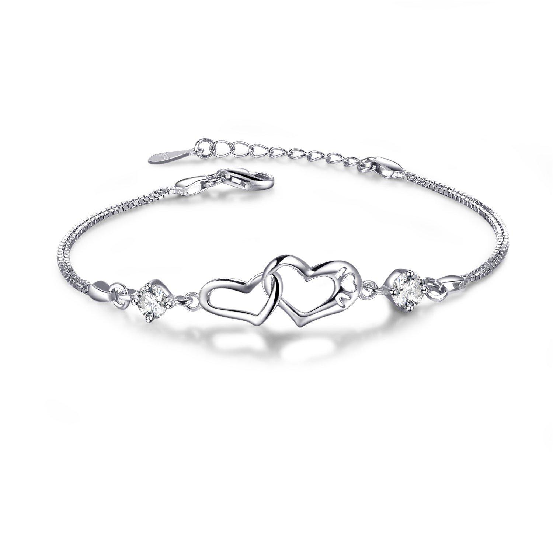 EVERU Heart Love Bracelet for Women, 925 Sterling Silver Adjustable Charm Forever Bracelet