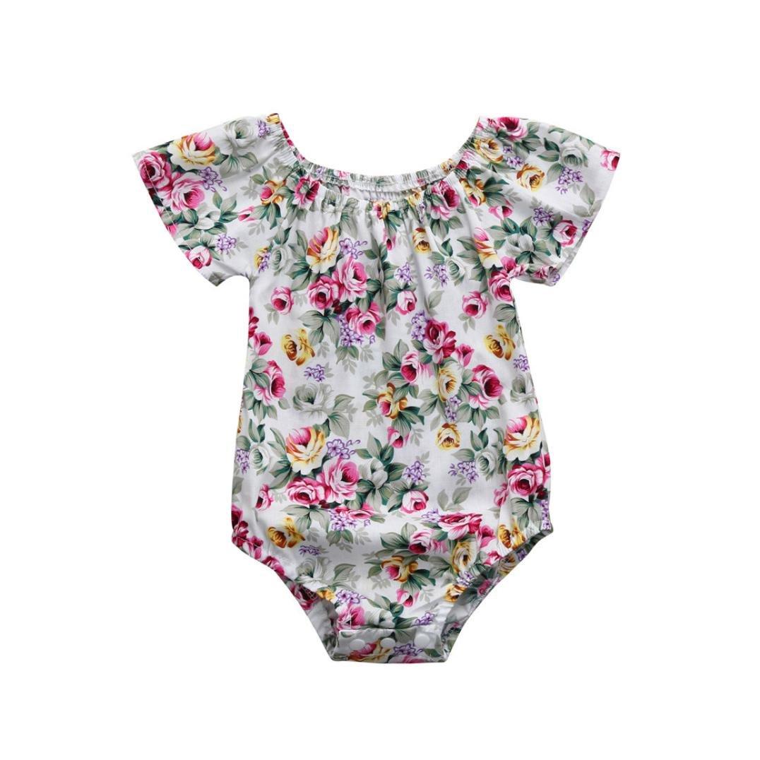 Staron Baby Romper Girls Vintage Floral Print Jumpsuit Clothes Newborn Summer Outfits