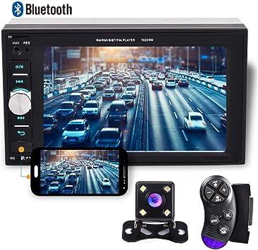 CAMECHO 2 DIN Coche Radio Bluetooth Coche Multimedia 1080P Full HD 6.2