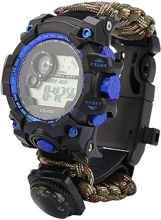 VGEBY1 Reloj de Supervivencia, Reloj de Pulsera multifunción 7 en 1 Silbato de brújula de Paracord para Acampar, Aventura en la Selva, Senderismo, ...