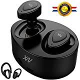Wireless Earbuds Bluetooth Headphones, XIAOWU Mini True Stereo Earphones Sweatproof Sport Headset with Mic and Charging Station for iPhone Samsung iPad and Most Android Phones (AU-WTX-B-fba)