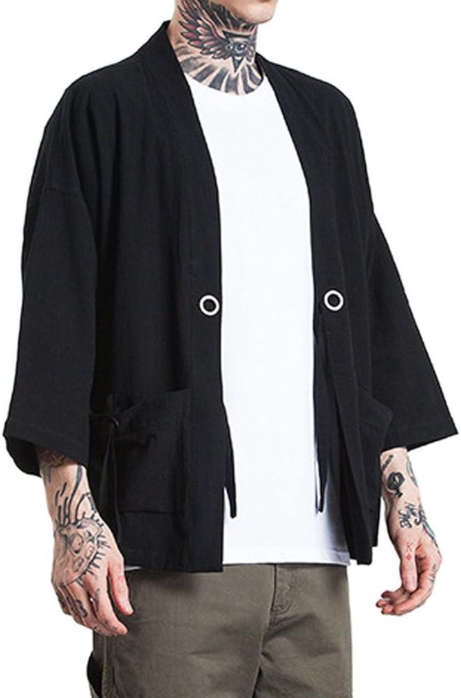 ROBO Hombres Camisa Kimono Camisa de Algodón de Primavera Estilo Japonés para Hombres: Amazon.es: Ropa y accesorios