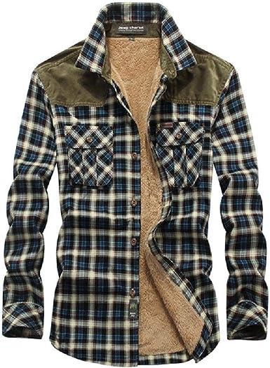 Acolchada Casual de Manga Larga de los Hombres de la Franela Forrado de Piel botón Camisa Caliente, Blue-M: Amazon.es: Ropa y accesorios