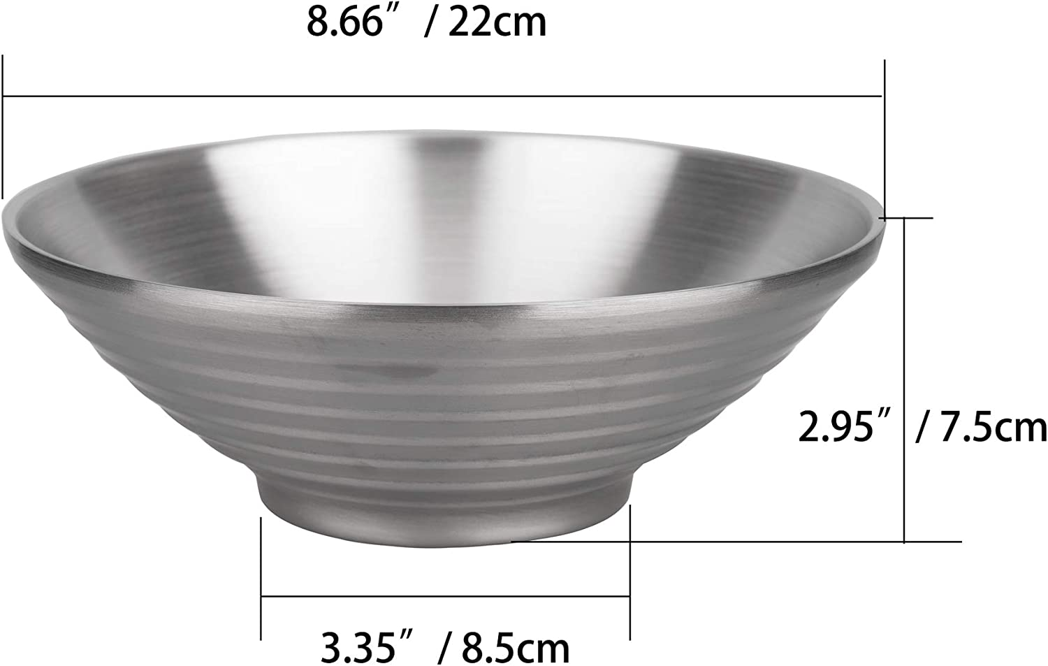 IMEEA 2-Piece Double Layer Ramen Noodle Soup Bowl SUS304 Stainless Steel Serving Bowl for Udon Soba Pho Pasta Salad Cereal 22cm
