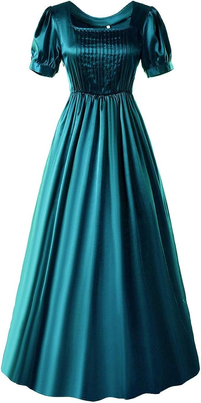 Loli Miss Women Vintage Regency Dress High Waistline Jane Austen Reenactment Ball Dresses Victorian Tea Gown