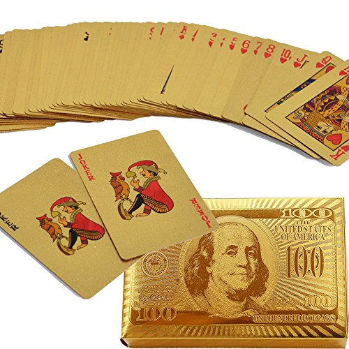 Silver Plated Card (SandiaSummer 24K Gold Foil Playing Cards $100 Dollar Design Poker Deck Toy)