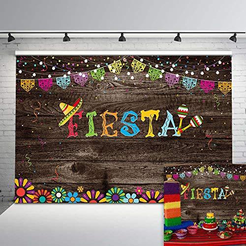 Fiesta Backdrop - Mocsicka Mexican Fiesta Backdrop Vintage Wood