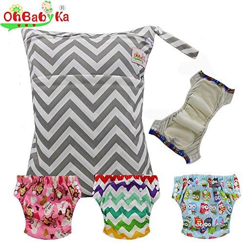 Baby Waterproof Reuseable Training Diapers Pants 3pcs, A Wet Dry Bag by Ohbabyka by OHBABYKA