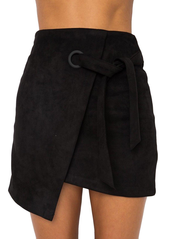 BerryGo Women's Faux Suede High Waist Tie up Party Pencil Mini Skirt Black,M