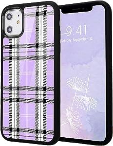 Idocolors Cute Case for iPhone Xs, Anti-Fall Soft Flexible TPU Bumper&Aluminum Hard Back Protective Cover,Retro Purple Plaid Print Girly&Boys Cases for iPhone X