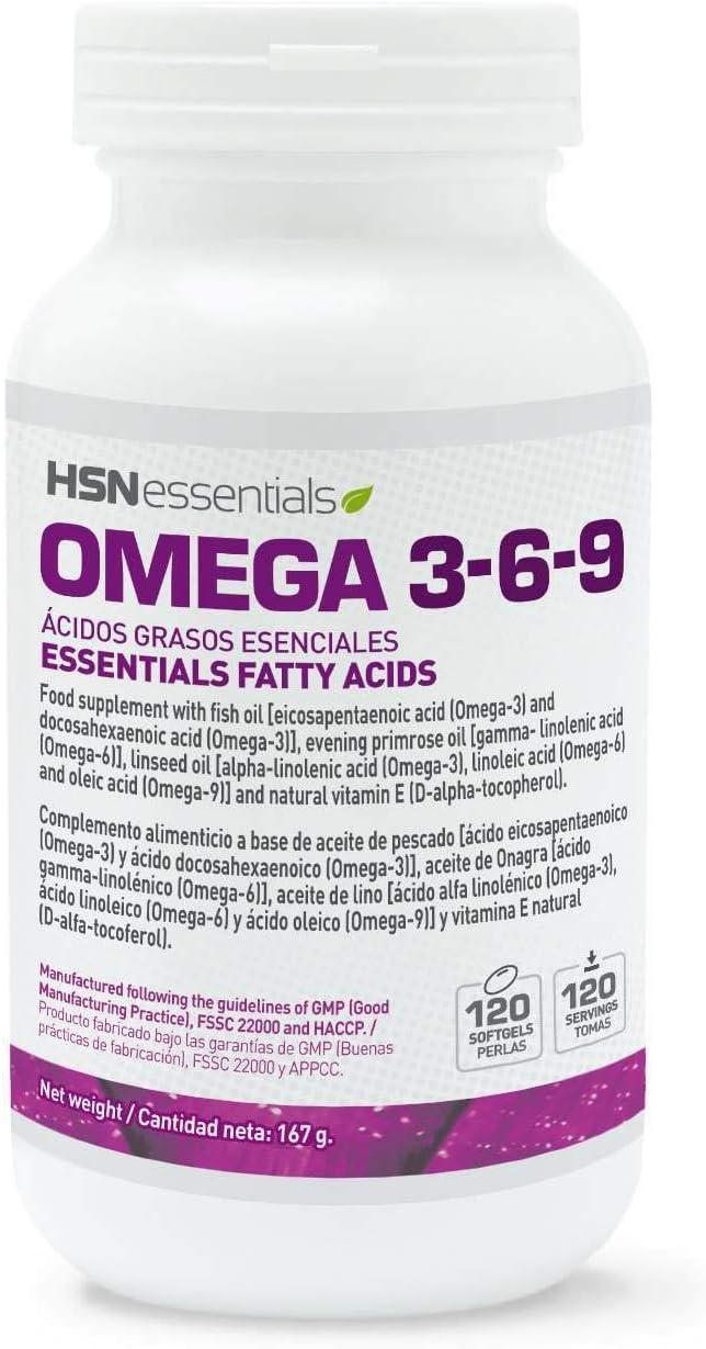 HSN Essentials Omega 3 6 9 de HSN Con Vitamina E, Sin Gluten, Sin Lactosa - 120 Perlas: Amazon.es: Salud y cuidado personal