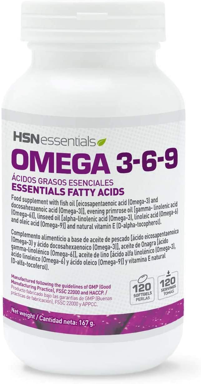 Omega 3 6 9 de HSN   Aceite de pescado, linaza y girasol   Ácidos Grasos Esenciales: Linolénico + Linoleico + Oleico   Con Vitamina E, Sin Gluten, Sin Lactosa, 120 perlas