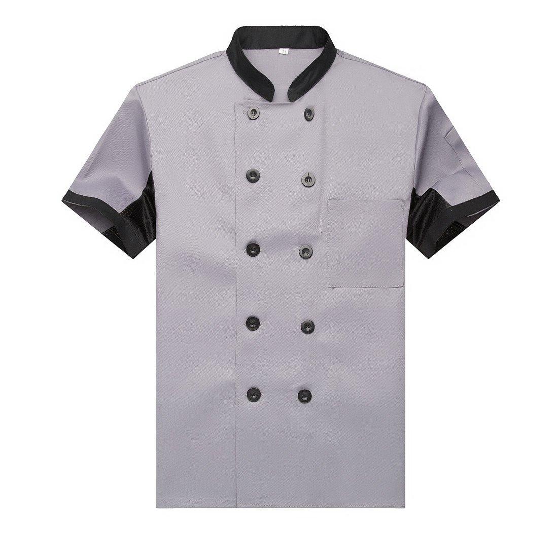 Chef Jackets Waiter Coat Short Sleeves Underarm Mesh Size S (Label:L) Grey