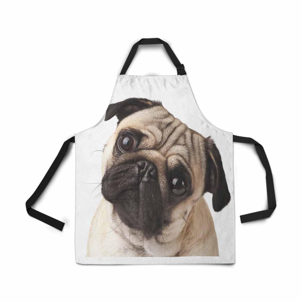 InterestPrint Close-Up Pug Dog Apron for Women Men Girls Chef with Pockets, Lovely Animal Unisex Adjustable Bib Apron Kitchen for Cooking Baking Gardening Home