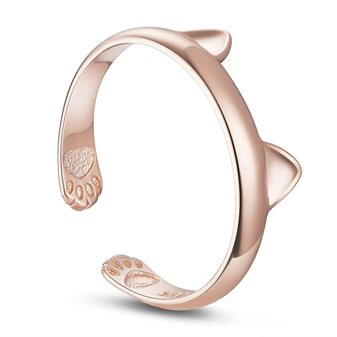 Amazon.com: TINYSAND Womens 925 Sterling Silver with 18K Rose Gold Plated Kitty Cat Ears Paws Midi Knuckle Adjustable Stackable Open Ring: Jewelry