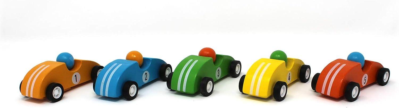 Set of 5 Red Pull Back Race Cars Green Inc Orange Blue Yellow Jack Rabbit Creations