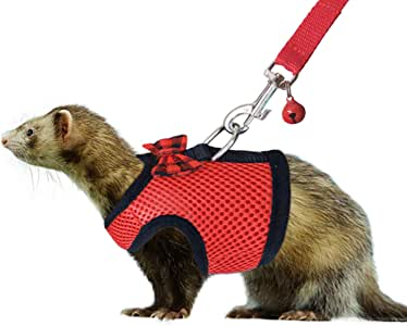 RYPET Small Animal Harness and Leash - Soft Mesh Small Pet Harness with Safe Bell, No Pull Comfort Padded Vest for Small Pet Red S