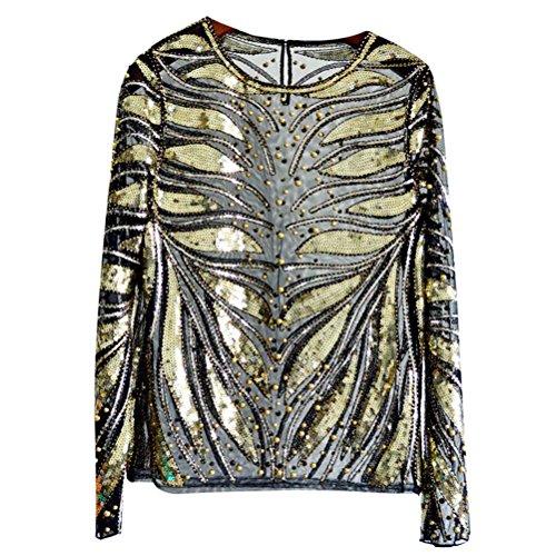 さようならバウンス最終Zhhlaixing ファッションスパンコールの衣装 Fantastic Industry Beaded Sequined Long Sleeved Luxurious Lace Shirt Sequin Top Women Girls