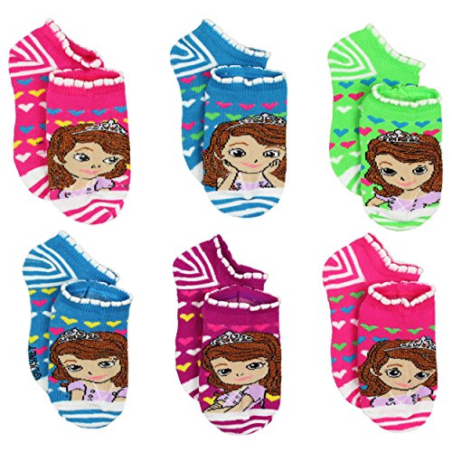 Sofia the First Girls 6 Pack Socks (4-6 Toddler (Shoe: 7-10), 6 pk Sofia Hearts)]()