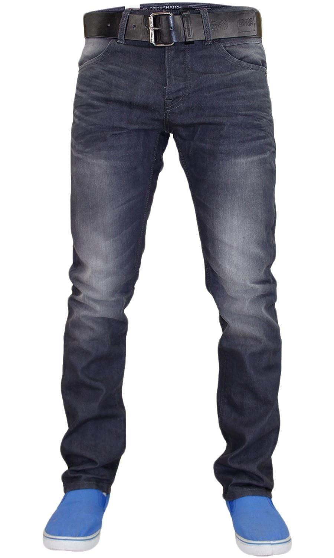 Crosshatch New Mens Designer Coated Denim Slim Fit Jeans Trousers with Free Belt