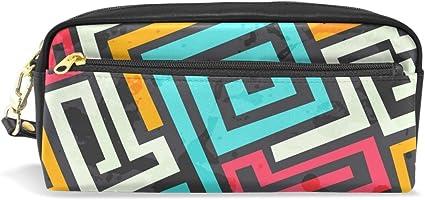 Estuche para lápices, estampado geométrico de colores, bolsa de maquillaje de viaje de gran capacidad, piel resistente al agua, 2 compartimentos para niñas, niños, mujeres y hombres: Amazon.es: Oficina y papelería