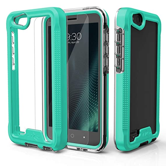 online retailer 87f6b dc40d Phonelicious Phone Cover Compatible with ZTE Z557BL Case Z558VL Case, Zte  Zfive GC with Screen Protector Slim Fit and Defender Protective (Silver)