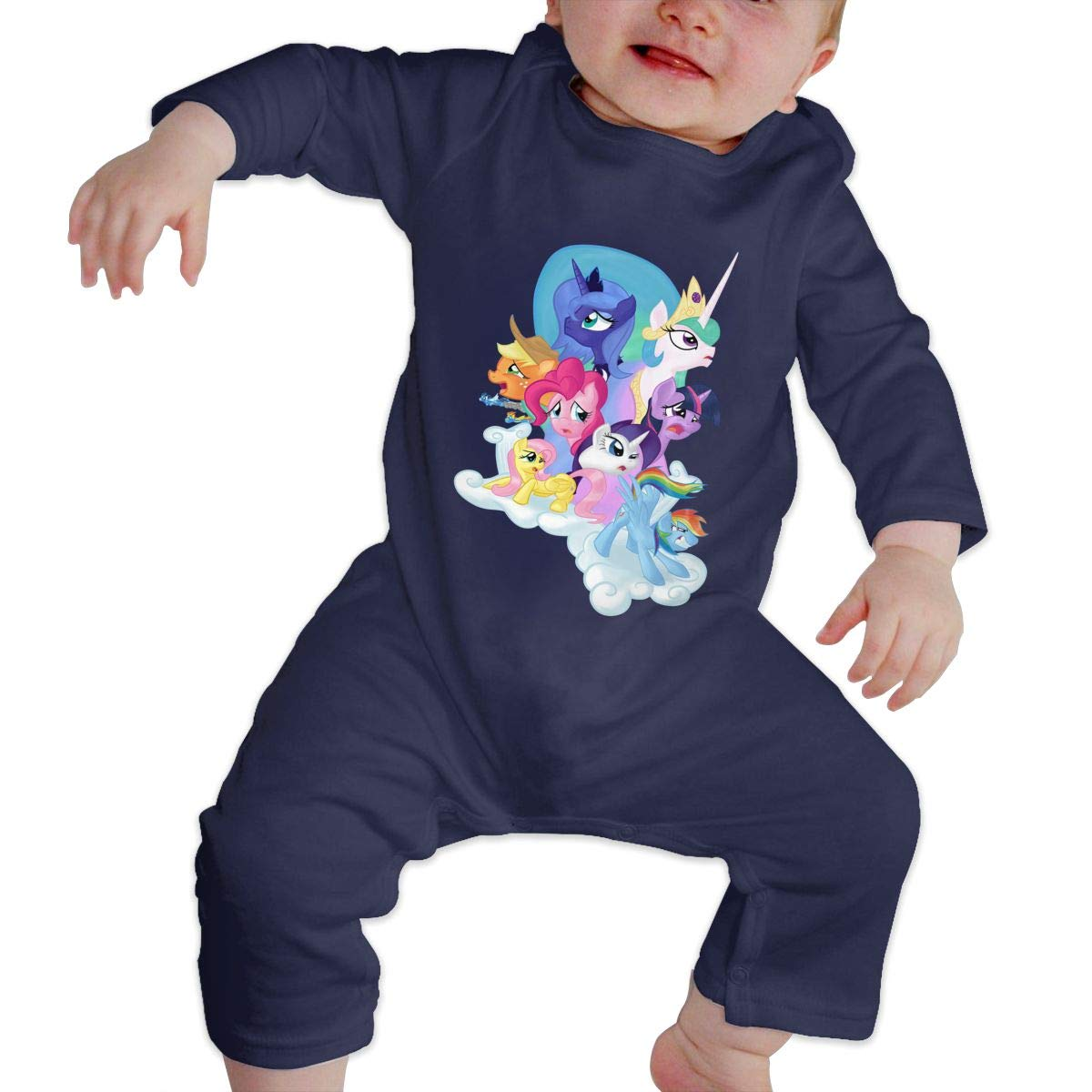 Unisex Baby O-Neck Long-Sleeve Solid Color Onesie Crawling Suit