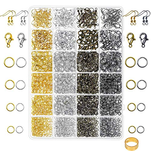 Paxcoo 3200Pcs Jewelry Necklace Repair Kit with Jump Rings, Clasps and Earring Hooks for Jewelry Making Supplies, Earring Making Findings and Necklace Bracelets Repair