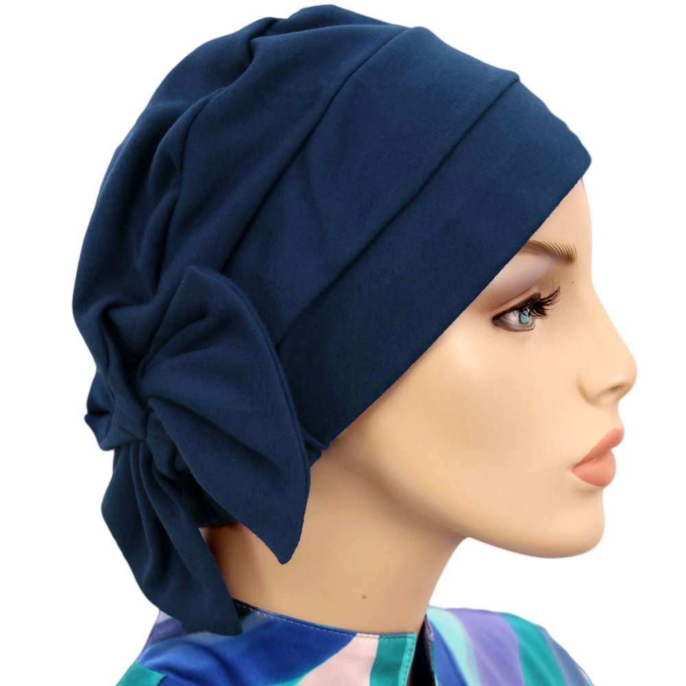 Hats for You Women's Chemo Cap with Removable Bow, Navy, One Size