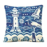 "Cotton Linen Square Decorative Throw Pillow Case Cushion Cover Blue Marine 18 ""X18 """