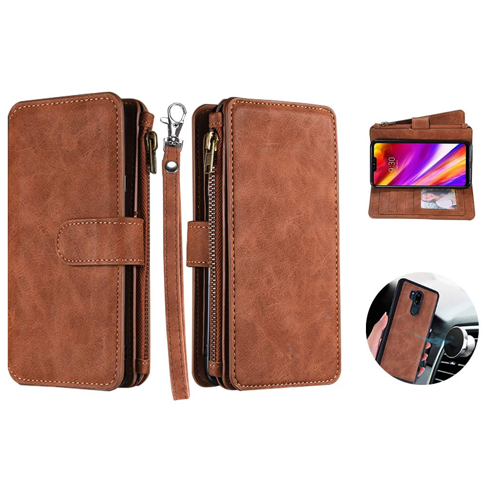 LG G7 ThinQ Case, LG G7 Wallet Case, Car Mount Supporting Base Cover Detachable Magnetic Zipper Case with 12 Cards Slot Cash/Key/Earphone Pocket/Wrist Strap for LG G7 /G7 ThinQ (Wallet- Brown) by okasis