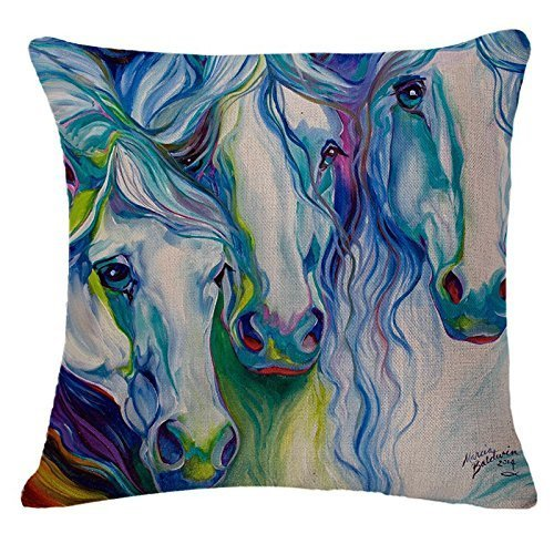 ITFRO Oil Painting Horse Hand Painted Throw Pillow Case Cotton Blend Linen Cushion Cover Sofa Decorative Square 18 Inches(5) by case -