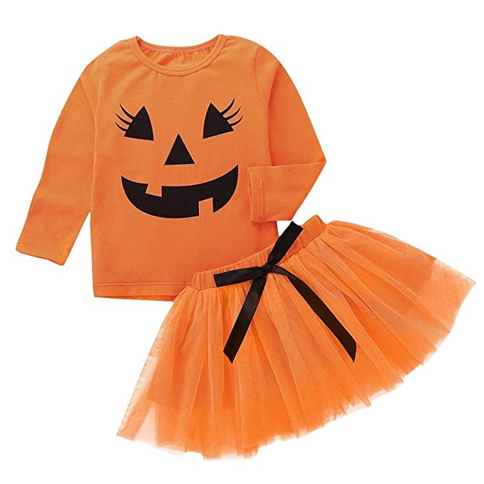 VICGREY ❤ Vestiti di Halloween Bambina Manica Lunga Camicetta di Zucca  Cartoon + Gonna Busto Set Abito Abiti Costume Costume per Halloween Party   ... fcec247b0ce
