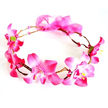 Amazon.com  Girls Womens Silk Flower Crown Floral Headband Headpiece Wreath  Artificial for Wedding Bridal Boho Kids Toddler (Hot pink)  Beauty a5aa147d161