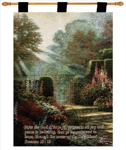 Manual Inspirational Collection by Thomas Kinkade 26 X 36-Inch Wall Hanging and Finial Rod, Garden of (Thomas Kinkade Garden)