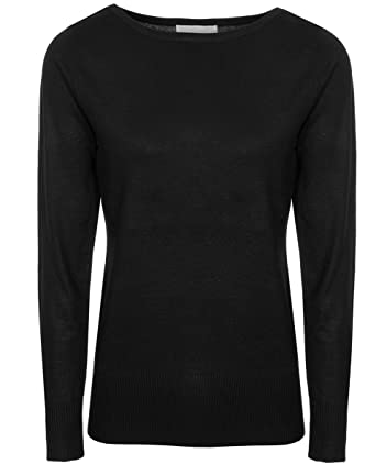 c7033b8b3b00aa Brody & Co.... Womens Boat Neck Jumpers Plain Fine Knit Sweater by ...