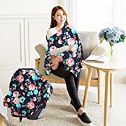Nursing Breastfeeding Cover.Fashion Infinity Nursing Scarf Best Breathable Privacy Cover for Mom Baby.Multi Use-Car Seat Canopy, Shopping Cart, High Chair, Stroller and Carseat.(Navy Floral Print)