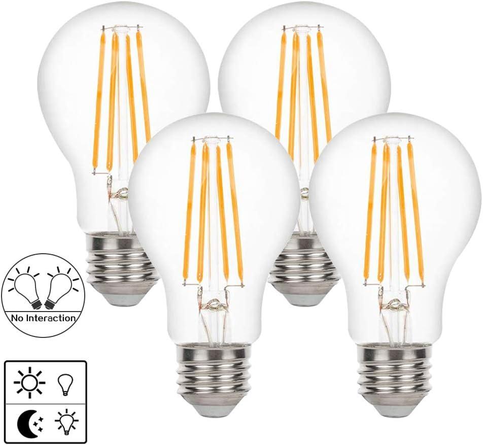 A19 Dusk to Dawn Light Sensor LED Bulb,Photocell Edison Vint