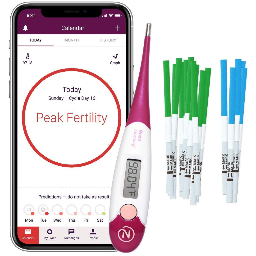 Natural Cycles Plan a Pregnancy Kit- 6 Month Subscription with Basal Thermometer - Ovulation + Pregnancy Tests - (iOS and Android) - BBT - Fertility Tracker