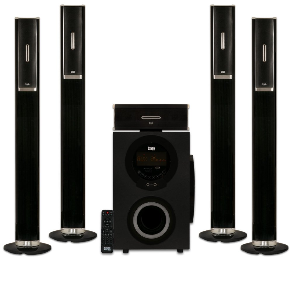 Acoustic Audio AAT3002 Tower 5.1 Home Theater Bluetooth Speaker System with 8'' Powered Subwoofer by Acoustic Audio by Goldwood