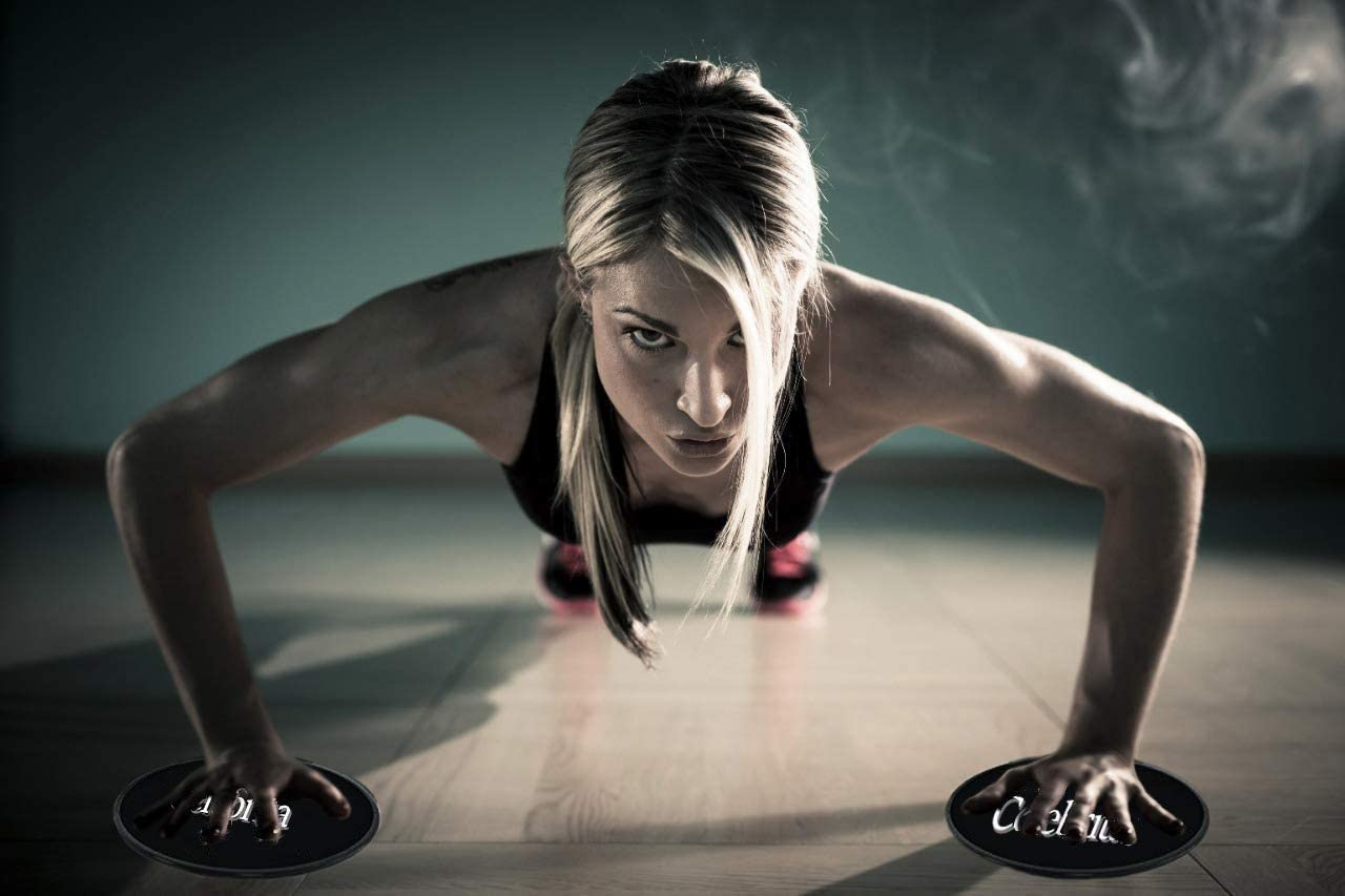 CELEBRITA Core Sliders for Working Out on Carpet Wood and Floor to sculpt your core
