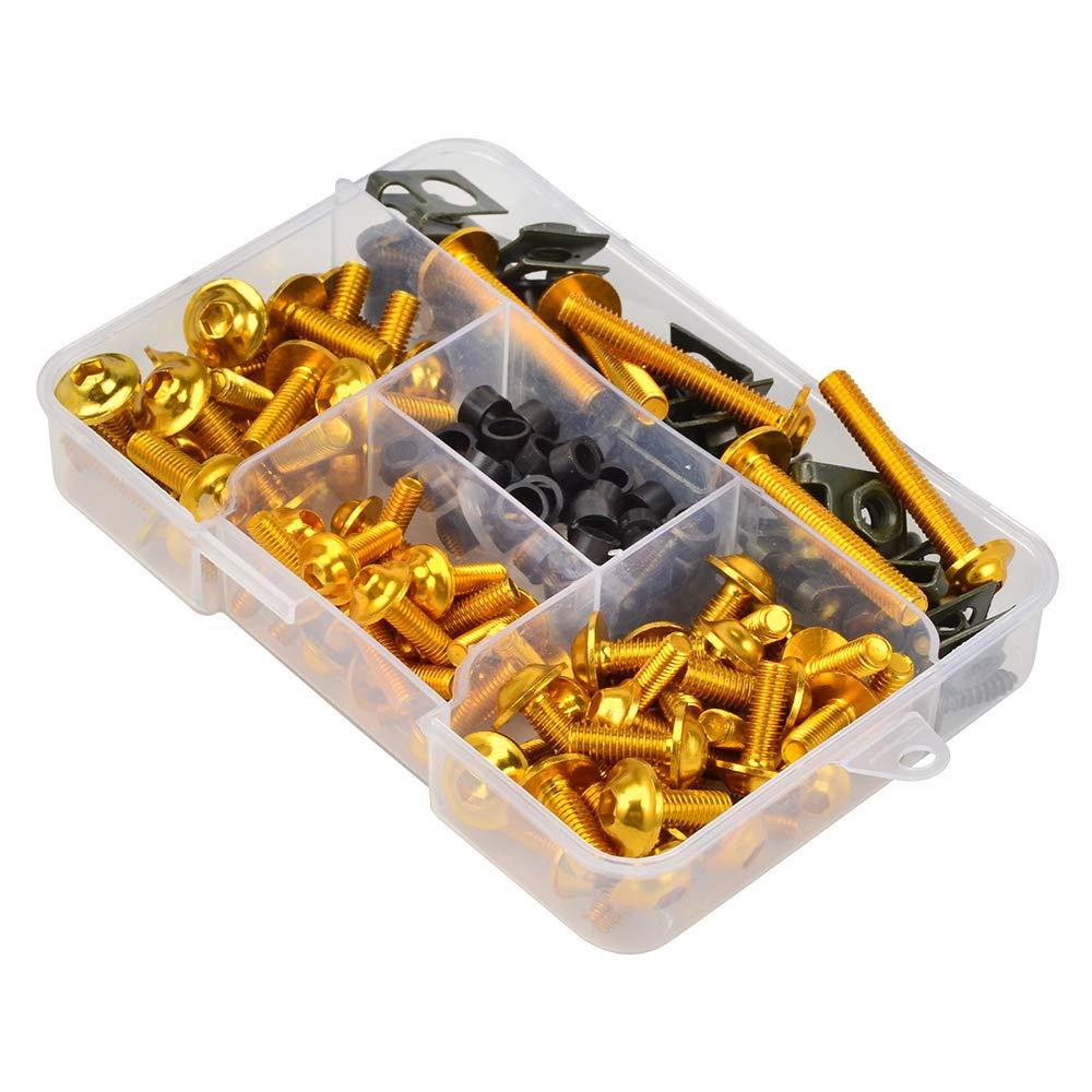 H2RACING Black Fairing Bolt Kit Bodywork Screws for CBR125R 2004-2011 250R 500R 2011-13 600 1991-2007 600F 1987-2006 CBR600RR 2003-2015 900RR 1992-2003 954 2002-2003 1000RR 2004-2015 1100XX 1996-2005