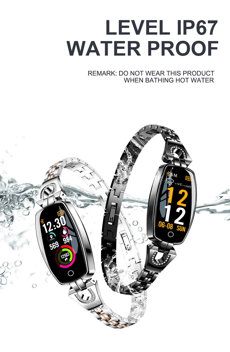 Amazon.com: BOND H8 Women Steel Strap Smart Wristband Color Screen Fitness Bracelet Heart Rate Monitor Blood Pressure Oxygen Smart Band Best Gift for Lady ...