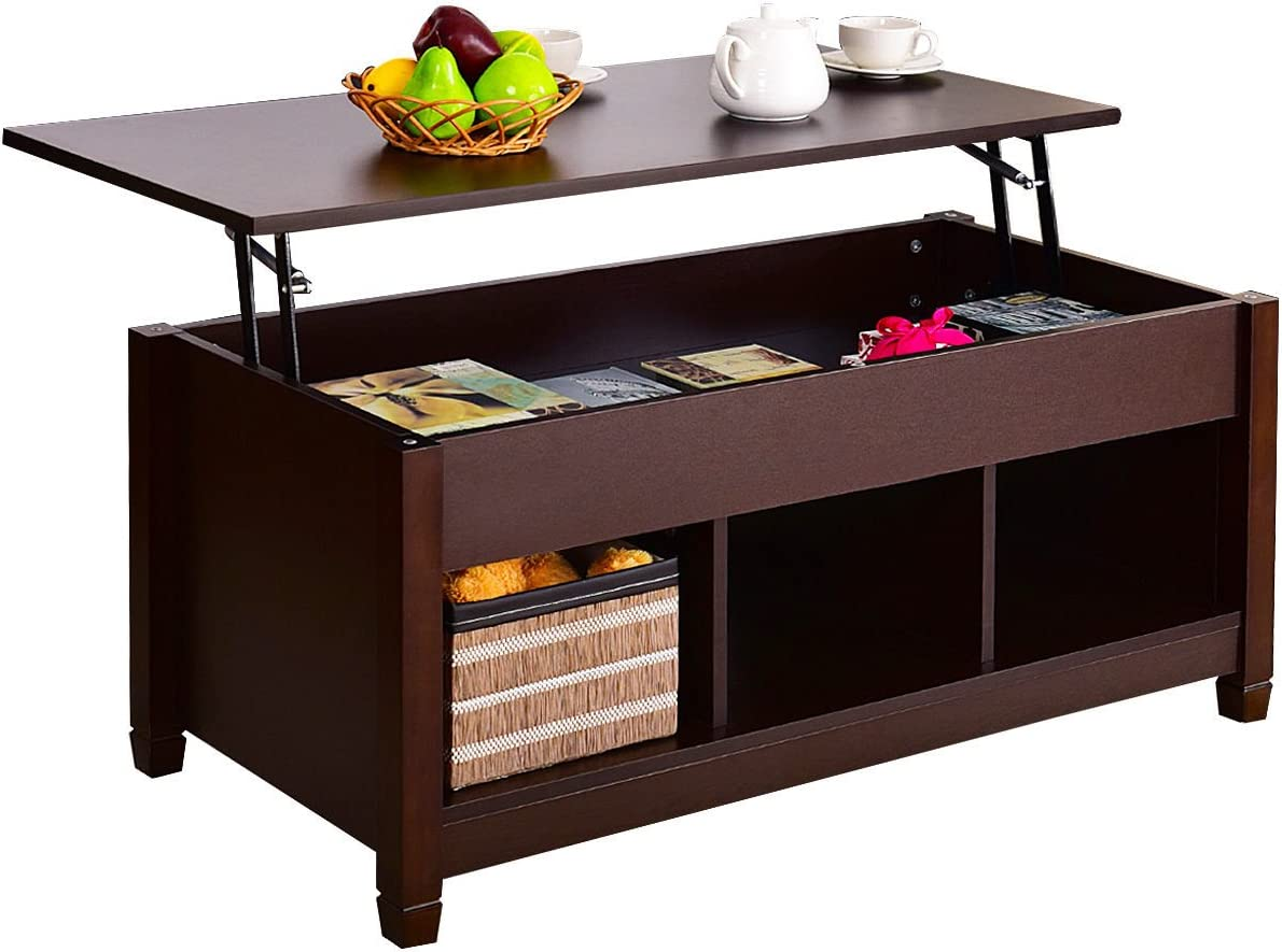 Lift Top Coffee Table W/ Hidden Compartment & Storage Shelves Modern Wood Furniture
