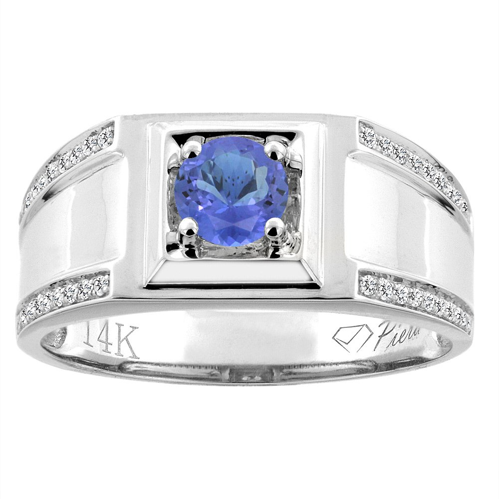 14K White Gold Natural Tanzanite Men's Ring Diamond Accented 3/8 inch wide, size 10