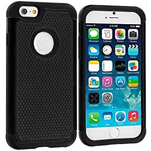 Accessory Planet(TM) Black / Black Hybrid Rugged Matte Hard/Soft Protective Case Cover for Apple iPhone 6 Plus (5.5)